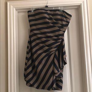BCBG tape and navy strapless dress
